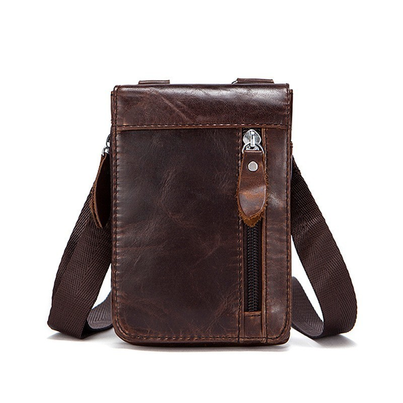 New Men Crossbody Bag Genuine Leather Business Small Shoulder Bags For Men Vintage Male Messenger Bags Leather  Bolsa Masculina