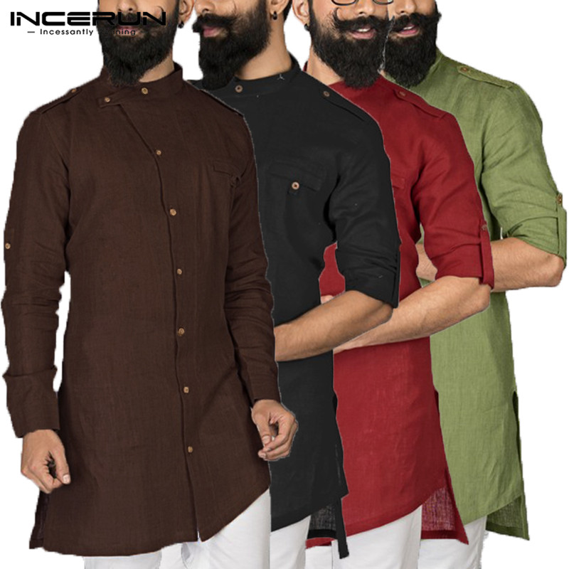 2020 Men Indian Clothes Dress Shirt Kurta Suits Long Sleeve Button Down Loose Arab Islamic Clothing Chemise  Pathani