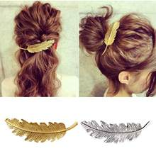 Creative vintage feather hair clips exaggerated leaves spring hairpins side clips horsetail jewelry fashion women girls Barrette(China)
