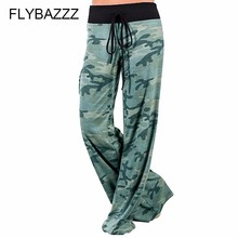Running Leggings Leg-Pants Boot-Cut Fitness Loose High-Waist Camouflage Women Wide Lace-Up
