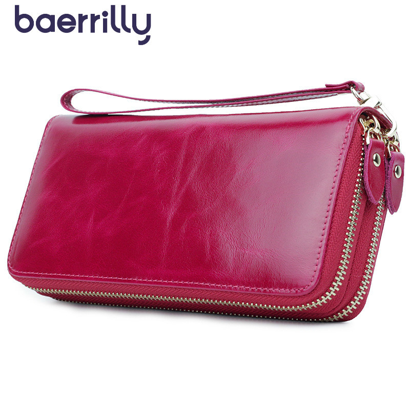 Women Wallet Long Clutch Bags Coin Purse Zipper High-capacity Card Holders Money Pocket Genuine Leather Wallets With Phone Case