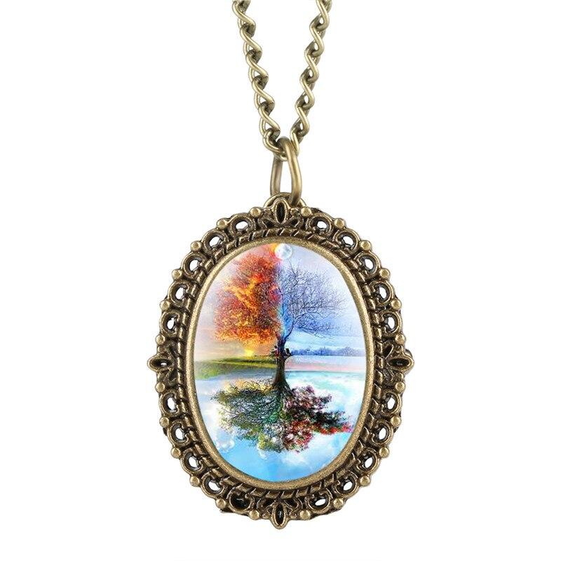 Novel Reflection Tree Pattern Pocket Watch For Male Relogio Feminino Classic Bronze Stylish Literary Retro Pocket Watch Necklace