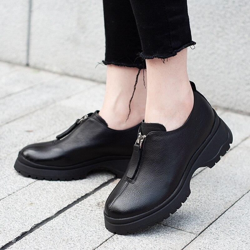 Main creamy Chaussures Rond En Jellyfond Casual Noir 2019 Dames Bout Véritable Mode white Cuir Femme Talons forme Black Pompes Plate Épais q6Hn81q