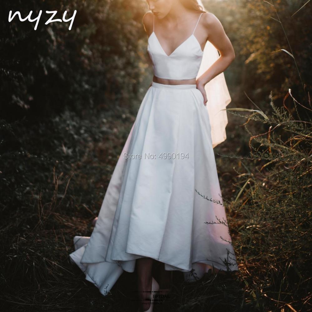 NYZY W7 Simple Satin 2 Piece Beach Boho Wedding Dress 2019 High Low Short Front Long Back Vestido De Novia Robe De Mariee