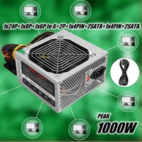 1000W ATX Power Supply+Quiet Fan For Intel AMD PC PSU PC Computer Mining Machine silver