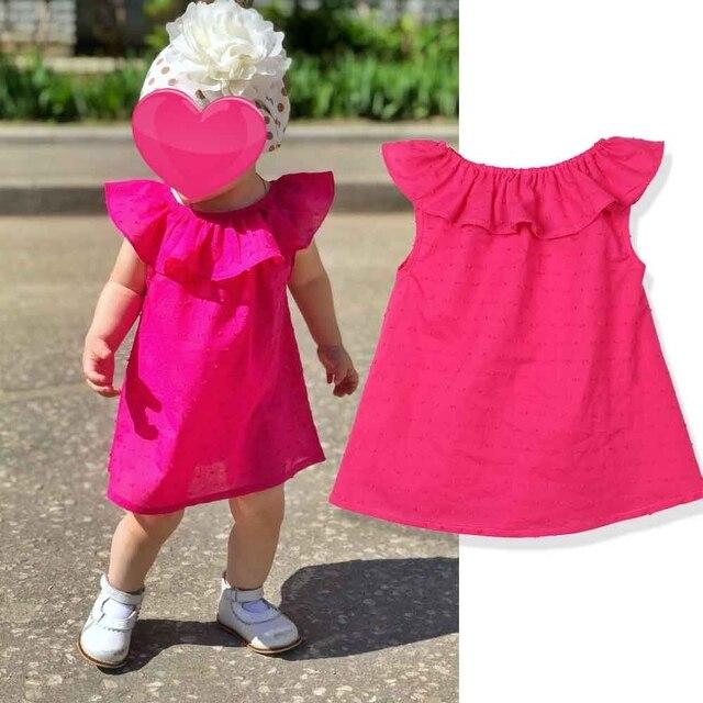 Touchcare Không Tay Rắn Bé Cô Gái Ăn Mặc Lá Sen Cổ Áo 1 Năm Sinh Nhật Váy Mùa Hè Sự Rửa Tội Ăn Mặc Vestidos Infantil