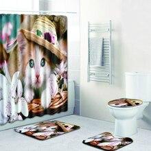 Polyester Fabric Shower Curtain Flower Cap Cat 3d Non-slip Carpet Floor Mats Toilet Pad 4Pcs Set Curtains For Bathroom Bath Mats 3 pieces misty forest non slip toilet mats set