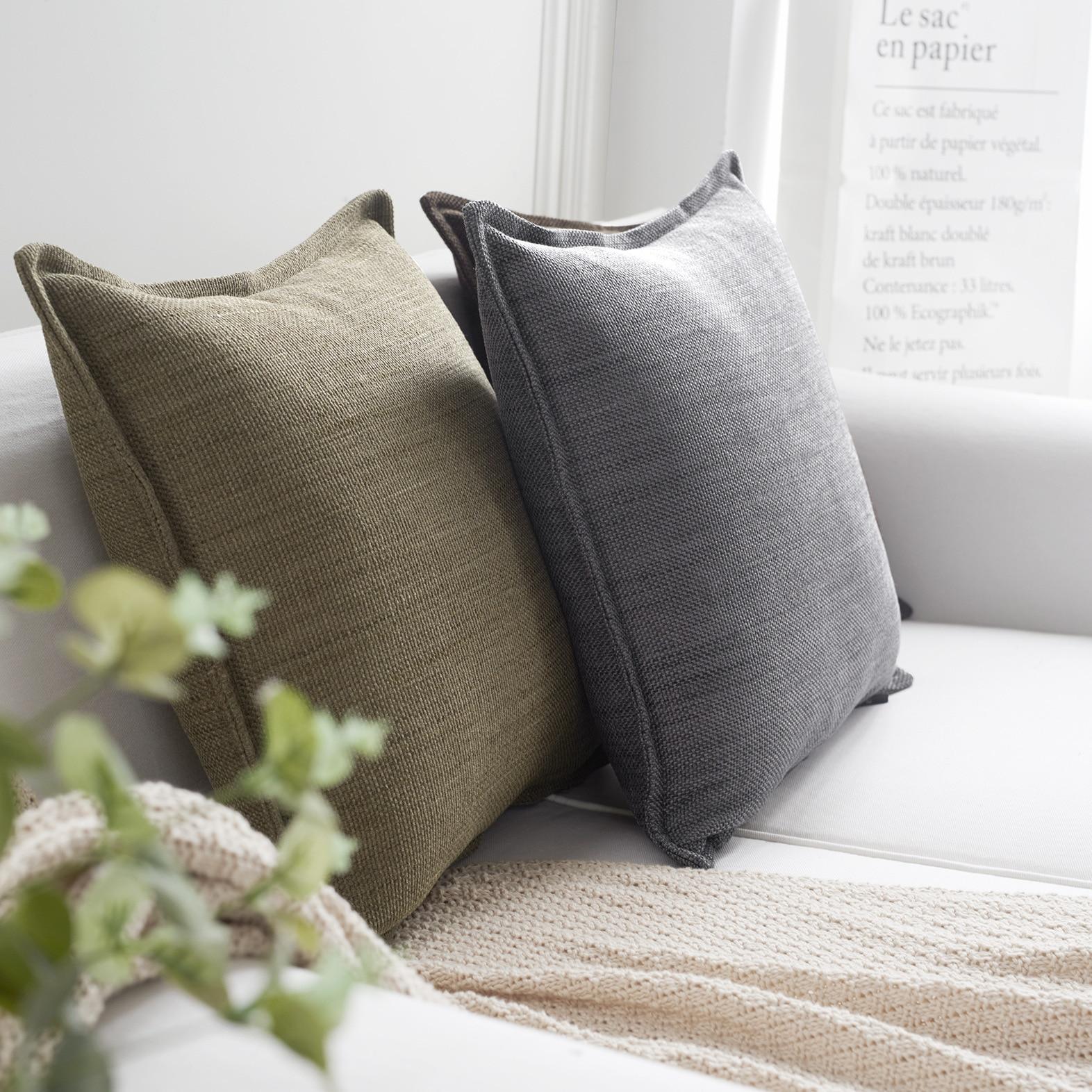 LM Modern Simple PillowCase Bedding Square Throw Pillow Covers Hidden Zipper 45 X 45 Cm