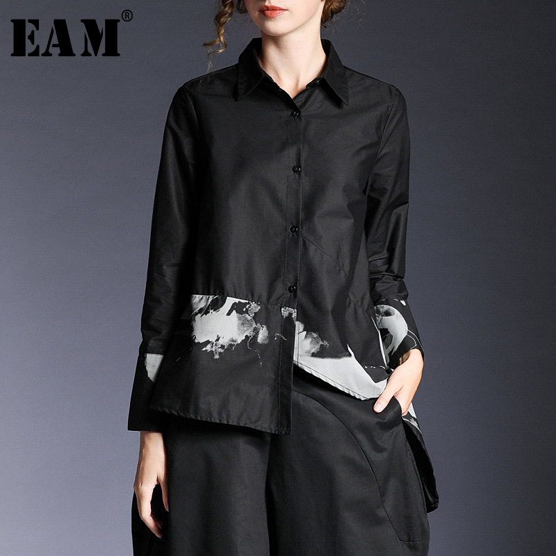 EAM 2019 New Spring Summer Lapel Long Sleeve Black Pattern Printed Irregular Hem Loose Shirt