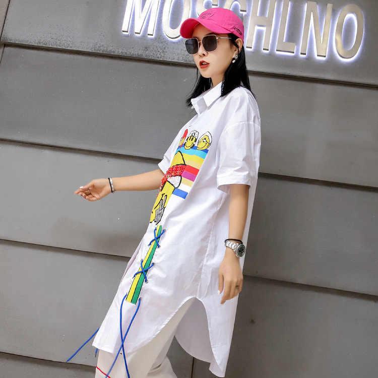 QING MO/блузка с принтом с героями мультфильмов, белая Весенняя блузка с короткими рукавами, блузка из 2019 хлопка с отложным воротником, большие размеры ZQY047