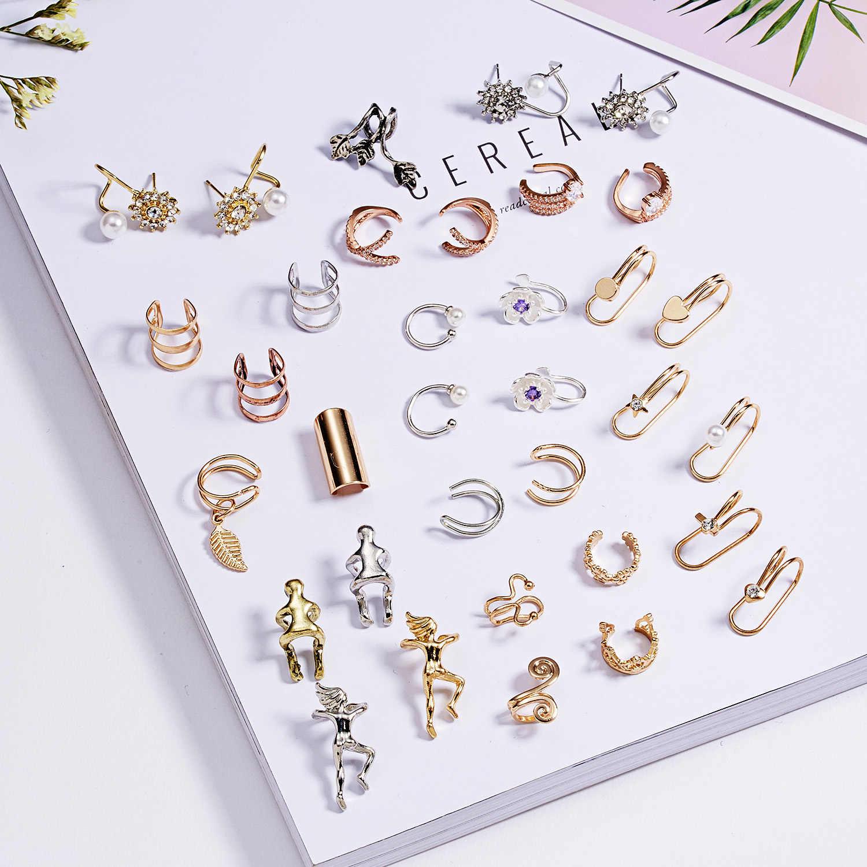 Rinhoo Elegante Oval CZ Kristall Manschette Ohrringe Für Frauen Keine Durchbohrten Einfache Silber Farbe Kreis CZ Stein Ohr Clip Brincos ohrringe