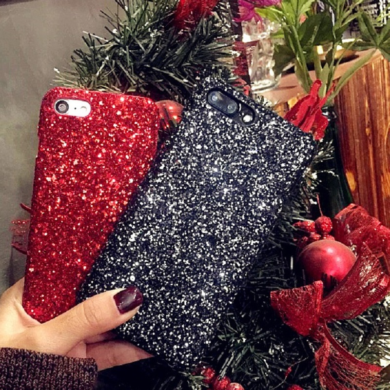 ProElite Bling <font><b>Glitter</b></font> <font><b>Case</b></font> for <font><b>iPhone</b></font> X XS Max 7 6 6S 8 Plus <font><b>XR</b></font> 5 SE Merry Christmas Hard Cover Shinning Sequins <font><b>Phone</b></font> <font><b>Cases</b></font> image