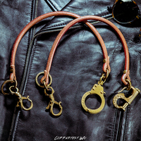 coppertist.wu Handcuffs Long Metal Wallet Belt Chain Rock Punk Trousers Jean Keychain Brass Leather Ring Clip Keyring Men's
