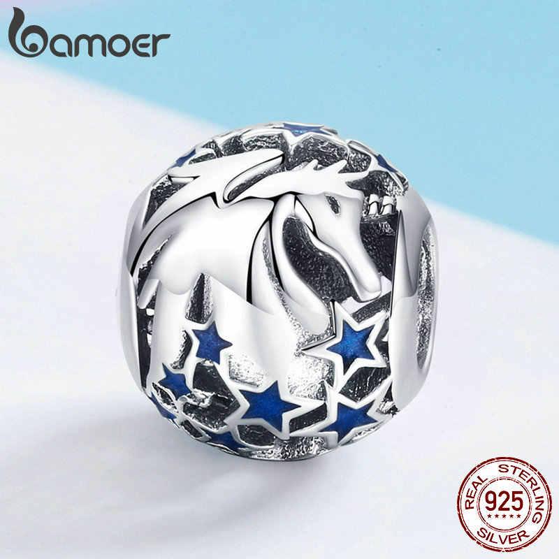BAMOER คอลเลกชันใหม่ 925 เงินสเตอร์ลิง Licorne Blooming Star Charm สร้อยข้อมือสร้อยคอเครื่องประดับอุปกรณ์เสริม SCC935