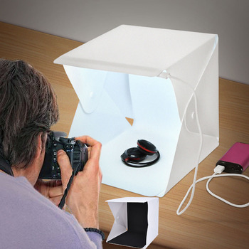 fosoto Portable LED Light Folding Studio Diffuse Soft Box 24cm 9″ Black White Mini Photography Background Photo Studio lightbox