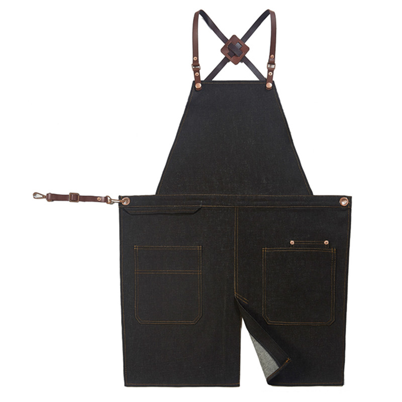 Black Denim Split Leg Apron