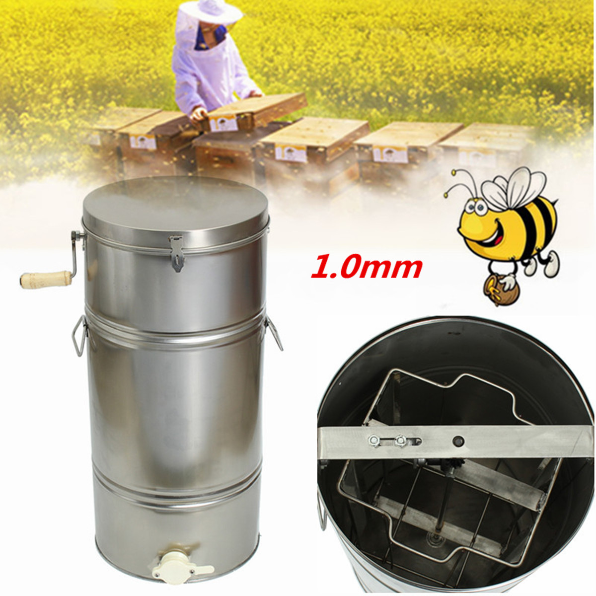 Honey Extractor Two 2 Frame Stainless Steel Manual Honey Extractor Honeycomb Beekeeping Spinner Tank Equipment SuppliesHoney Extractor Two 2 Frame Stainless Steel Manual Honey Extractor Honeycomb Beekeeping Spinner Tank Equipment Supplies