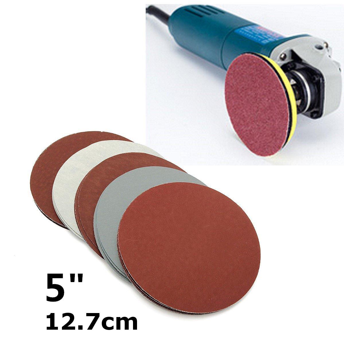25Pcs 5 Inch Disc Hook Loop Sandpaper Sand Paper Grit 1000 /1500 /2000 /2500/3000 Sanding Round Sandpaper Disk Sand Sheets