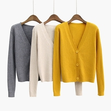 Spring Autumn Womens Cardigan Knitted Sweater Long Sleeve Female V-neck Single Breasted Short Cardigans