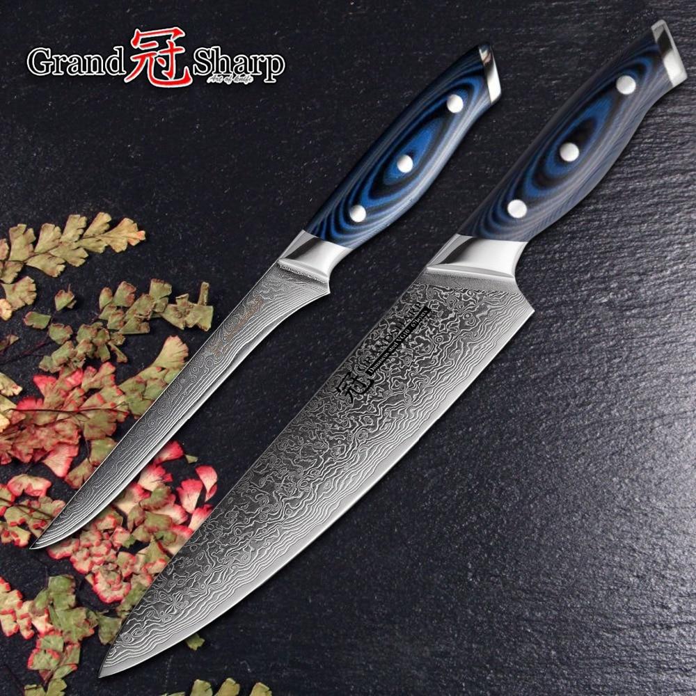 NEW Damascus Knives Sets 2 pcs Kitchen Knife Set Chef Boning Knife vg10 Japanese Damascus Steel