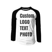 Индивидуальная Мужская футболка с длинным рукавом печать логотипа/текст/фото