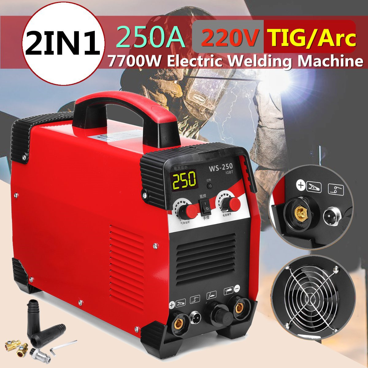 Newest 220V 7700W 2IN1 TIG/ARC Electric Welding Machine 20-250A MMA IGBT STICK Inverter For Welding Working And Electric Working