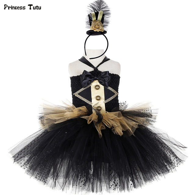 Black and Gold Circus Ringmaster Tutu Dress Kids Greatest Showman Costumes Girls Halloween Carnival Birthday Party Dress 1-14Y