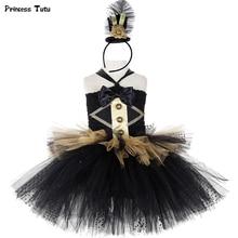 สีดำและทองCircus Ringmaster Tutuชุดเด็กGreatest Showmanเครื่องแต่งกายหญิงฮาโลวีนCarnivalชุดวันเกิด1 14Y