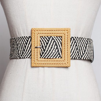[YaLee] New Fashion 2019 Spring Summer High Quality Big Square Pin Buckle Girdle Long Wide Weave Belts Women All Match U185