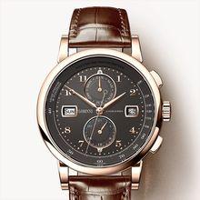 Reloj de lujo LOBINNI suizo para hombres, relojes inalámbricos mecánicos automáticos para hombres, tracímetro de cuero de zafiro, L16001 2