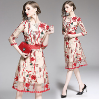 Casual Vestidos Flower red Embroidery Dress Women 2019 summer party Office Lady Stand Bodycon Dress mesh net