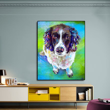 AAVV Poster and Paint Cute Colorful Dog Painting Home Decorative Art Picture Painting on Canvas Prints for Living Room No Frame(China)