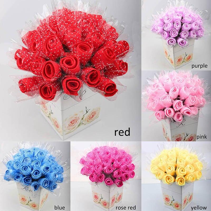 Полотенце в форме розы домашний текстиль 20*20 см, мягкие конфетные цвета, ультратонкие нановолокна, полотенца для торта, мочалка, свадебные п...