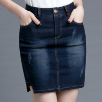 Women's Denim Skirt Summer Fashion Sexy Package Hip Skinny Mini Skirt Blue Jean Skirt Style Saia Jeans Plus Size