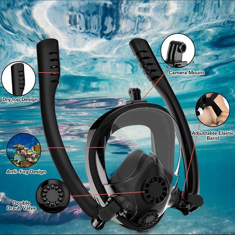 Adult Kids Double Tubes Full Face Diving Mask Underwater Double Snorkel Scuba Diving Mask Anti Anti Fog Leak