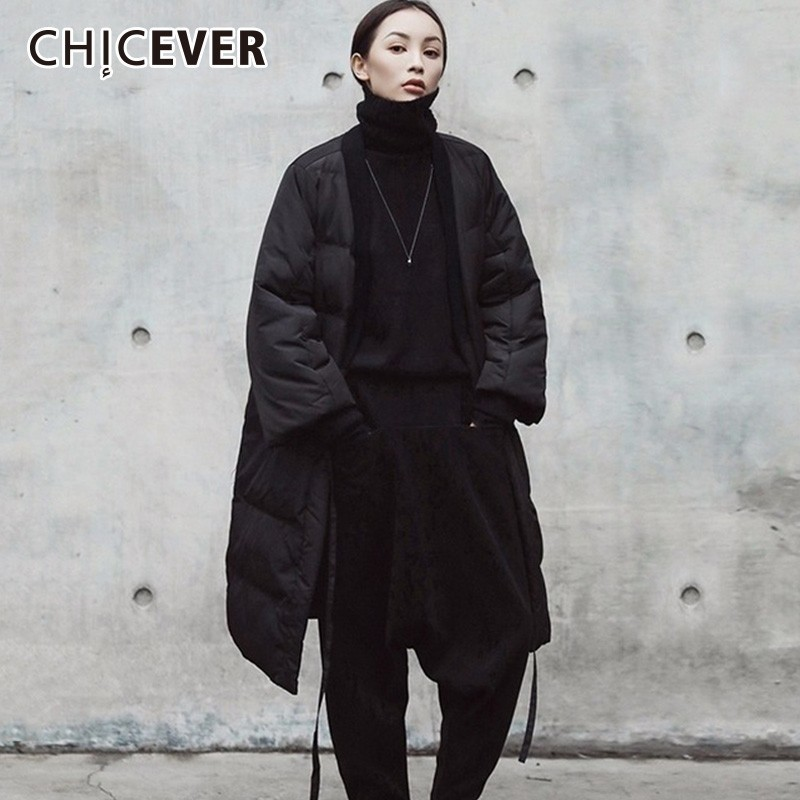 CHICEVER Winter Down Jacket For Women s Coats V Neck Three Quarter Sleeve Lace Up Black