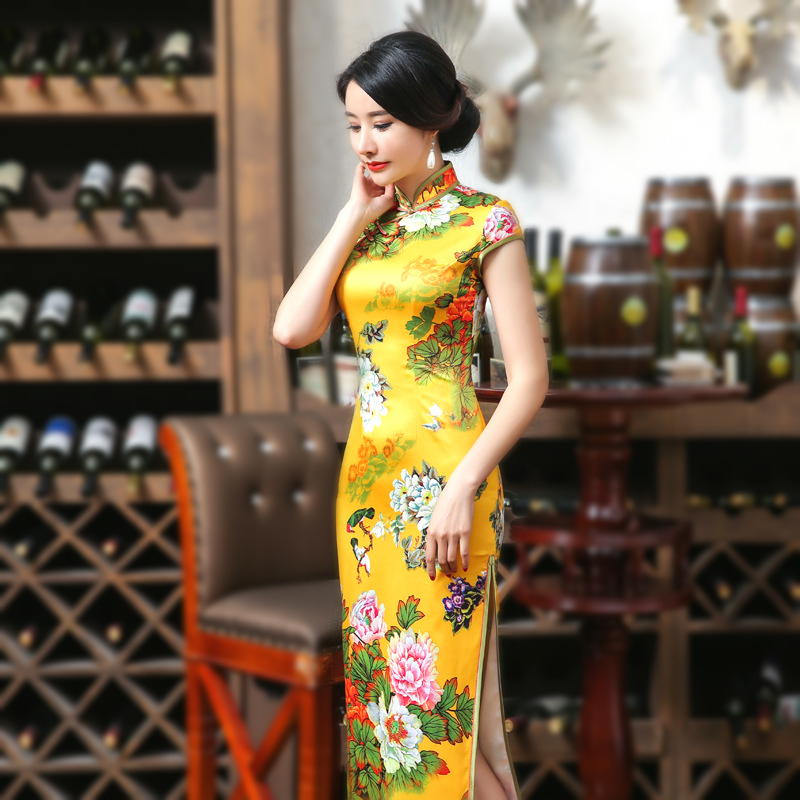 SHENG COCO Yellow Qipao Dresses Flowers Vintage Cheongsam Brocade Long Lady Summer Printing Tight Corset Chipao Dress 2XL XXXL