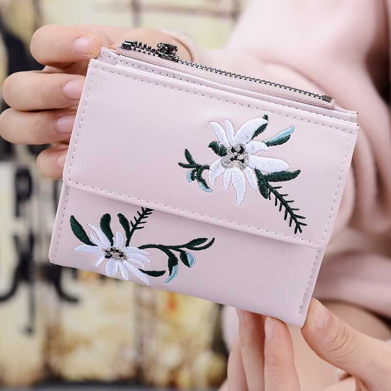 Wallet Women's Short Student Coin Purse Mini Cute Flower Small Fresh Lady Wallet