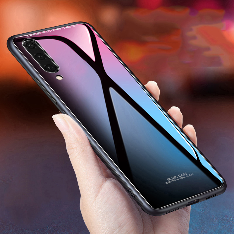 Glass Cases For <font><b>Samsung</b></font> <font><b>A50</b></font> Case Glossy Tempered Glass Silicone Frame Hard <font><b>Back</b></font> <font><b>Cover</b></font> For <font><b>Samsung</b></font> Galaxy <font><b>A50</b></font> A30 Case Fundas image