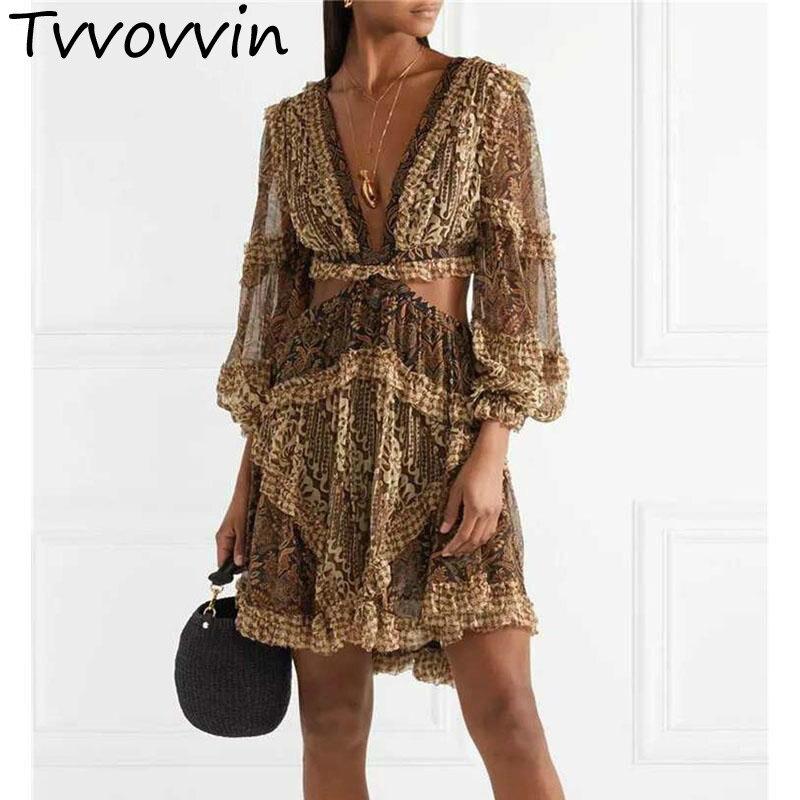Femmes robe imprimé léopard robes profonde V dos nu évider Sexy robe lanterne manches Lotus feuille robes d'été 2019 E904