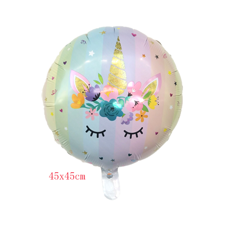 50pcslot 18inch Flower Unicorn Foil Balloon Birthday Party Decoration Baby Shower Globos Wedding Balloons Children's Toys Gifts