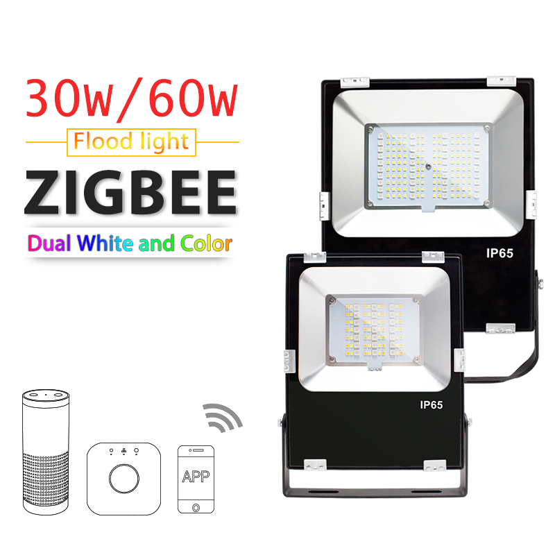 ZIGBEE ZLL LED Floodlight 30W 60W RGB CCT WWCW APP control Color temperature Outdoor Waterproof IP65 work with Amazon Echo plus in Floodlights from Lights Lighting