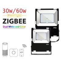 ZIGBEE ZLL LED Floodlight,30W/60W,RGB+CCT WWCW APP control Color temperature,Outdoor Waterproof IP65,work with Amazon Echo plus