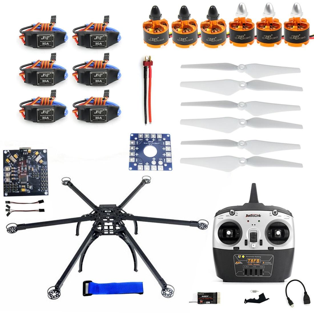 Kit de châssis d'avion multi-rotor bricolage Hexacopter Radiolink T8FB TX & RX ESC moteur KK V2.3 F10513-A de circuits imprimés