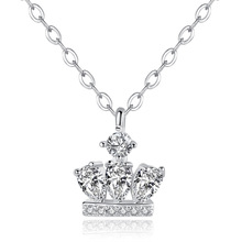 Silikolove 1 Pcs Fashion Temperament Princess Crown Necklace with Zircon Item Jewelry Short Clavicle Chain Collier
