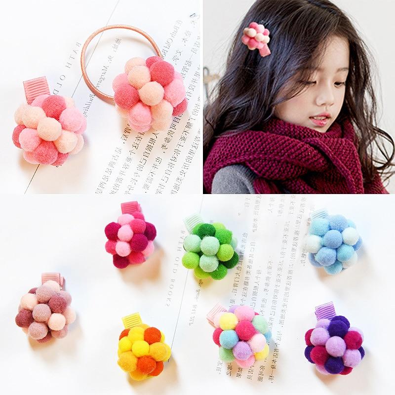 Sale 1PC/2PCS Elastic Fluffy Balls Hair Clip Kids Children Girls Hairpins Ponytail Holder Hair Rope Tie Rubber Band Accessories