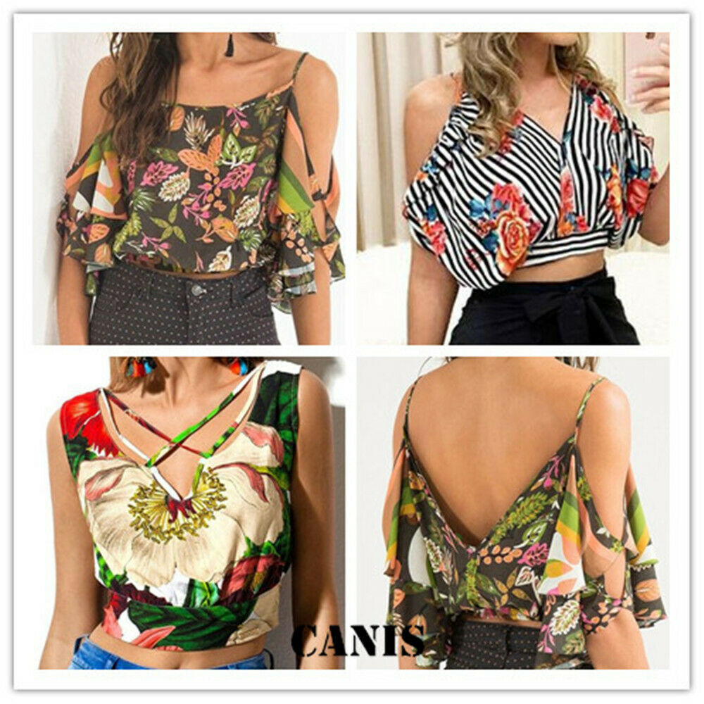 Sexy Women Crop Tops Casual V Neck Flower Print Cold Shoulder Vest Top Summer Loose Cami Tank Shirt in Blouses amp Shirts from Women 39 s Clothing