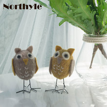 Genuine Dream house DH BS163376 Naughty owl bro wool bird figurine mini craft miniature christmas gift home decoration