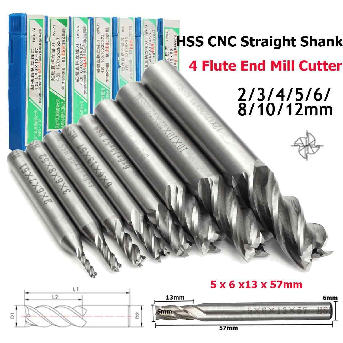 2X 10mm HSS Straight 8mm Shank 4 Flute End Mill Steel Cutter CNC Drill Bit Tool