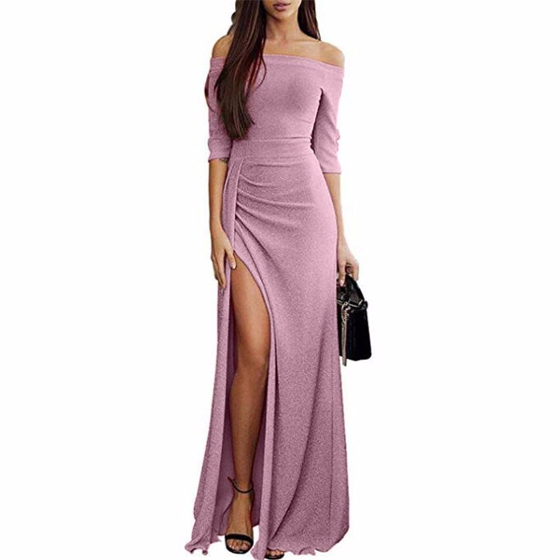NEW Autumn Women Sexy Elegant Party Dresses Shiny Off Shoulder Fashion Long Sleeve Ruched Thigh Slit Dress